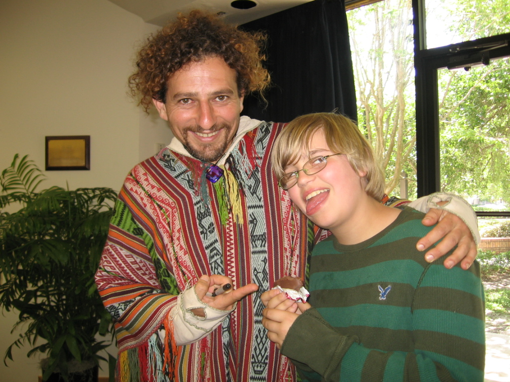 Christian and David Wolfe eating raw yumminess!! Raw Chocolate!