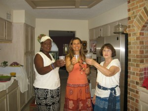 d'Adjoa, Veggie Girl, Kay having a toast to set the mood.  d' made ginger brew. What an awesome bite it had to it. I would drink it everyday. Mmmmm. Yummilicious
